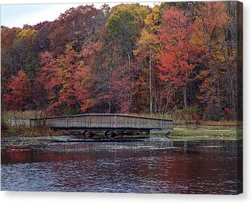 Bridge In Autumn Canvas Print by Richard Bryce and Family