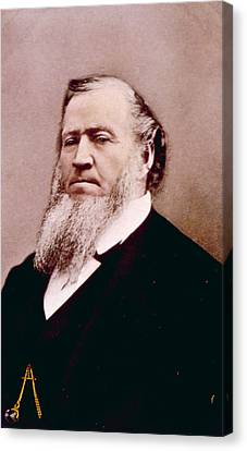 Brigham Young 1801-1877, Hand Colored Canvas Print by Everett