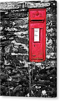 British Red Post Box Canvas Print by Meirion Matthias