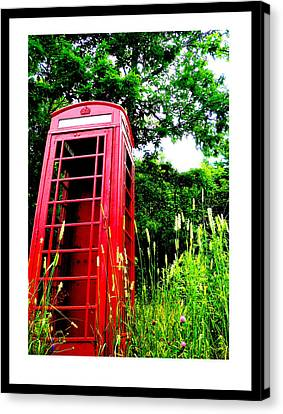 British Telephone Booth In A Field Canvas Print by Kara Ray