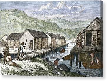 Bronze Age Village, 19th Century Artwork Canvas Print by Sheila Terry