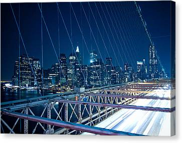 Brooklyn Bridge And Lower Manhattan By Night Canvas Print by Miemo Penttinen - miemo.net