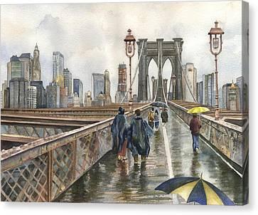 Brooklyn Bridge Canvas Print by Anne Gifford