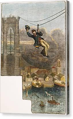 Brooklyn Bridge Mechanic Canvas Print by Granger