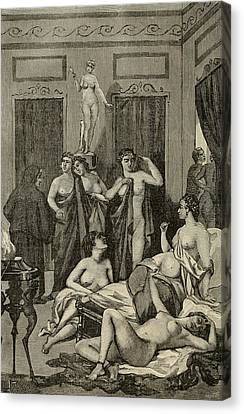 Brothel In Ancient Greece. 19th Century Canvas Print by Everett
