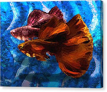 Brown Fish In Abstract Art Canvas Print by Mario Perez