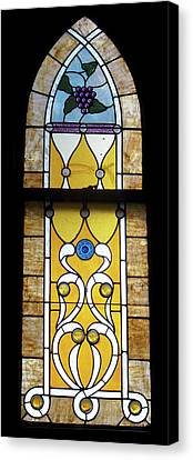 Brown Stained Glass Window Canvas Print by Thomas Woolworth