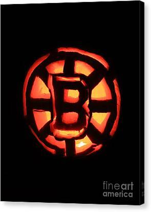 Bruins Carved Pumpkin Canvas Print by Lloyd Alexander