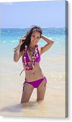 Brunette Model On Beach Canvas Print by Tomas del Amo