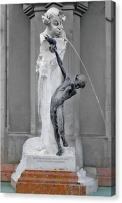 Brunnenbuberl - Boy At The Fountain -  Munich Germany Canvas Print by Christine Till