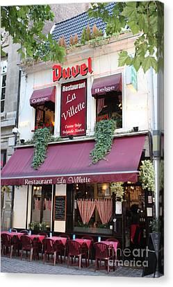 Brussels - Restaurant La Villette With Trees Canvas Print by Carol Groenen