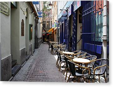 Brussels Side Street Cafe Canvas Print by Carol Groenen