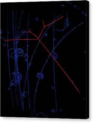 Bubble Chamber Photo Of Proton Tracks Canvas Print by Lawrence Berkeley Laboratory