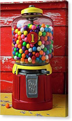 Bubblegum Machine And Gum Canvas Print by Garry Gay