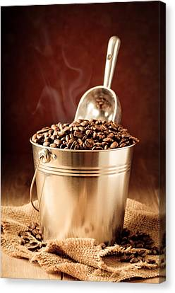 Bucket Of Coffee Beans Canvas Print by Amanda Elwell
