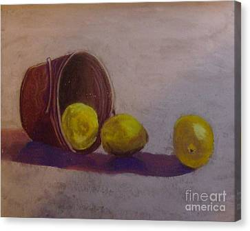 Bucket Of Lemons Canvas Print by Calliope Thomas