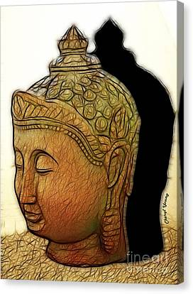Buddha Shadow Canvas Print by Cheryl Young