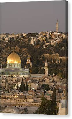 Built Atop The Earlier Location Canvas Print by Richard Nowitz
