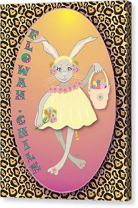 Bunnie Girls- Flowah Chile 1 Of 4  Canvas Print by Brenda Dulan Moore