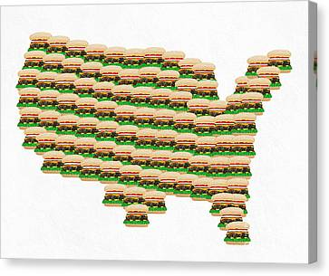 Burger Town Usa Map White Canvas Print by Andee Design