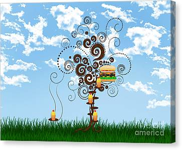 Burger Tree House And The Cupcake Kids  Canvas Print by Andee Design