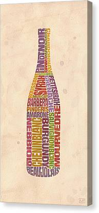 Burgundy Wine Word Bottle Canvas Print by Mitch Frey
