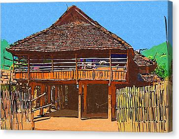 Burmese Village House Canvas Print by Fran Woods