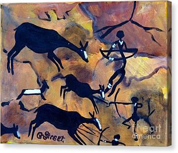 Bushmen Rock Art No 1 The Hunt Canvas Print by Caroline Street
