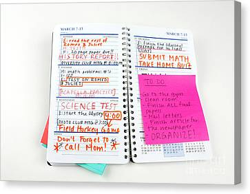 Busy Homework Planner Canvas Print by Photo Researchers, Inc.