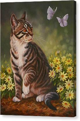 Butterfly Kisses Canvas Print by Kathleen  Hill