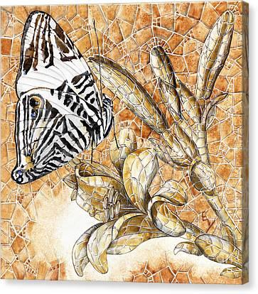 Butterfly Mosaic 02 Elena Yakubovich Canvas Print by Elena Yakubovich
