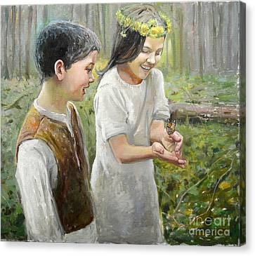 Butterfly On Hand Canvas Print by Eugene Maksim