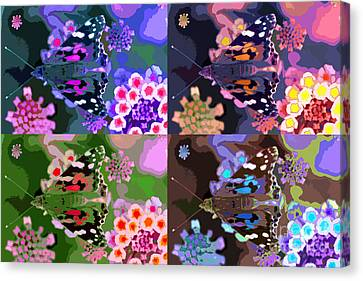 Butterfly Times Four Canvas Print by Robin Ziegelbaum