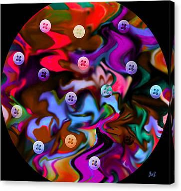 Button Moon Canvas Print by Jan Steadman-Jackson