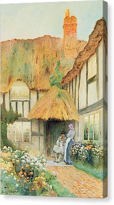 By The Cottage Door Canvas Print by Arthur Claudes Strachan
