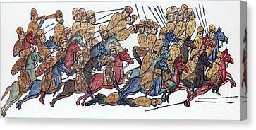 Byzantine Cavalrymen Rout Bulgarians Canvas Print by Photo Researchers