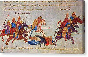 Byzantines Cavalrymen Pursuing The Rus Canvas Print by Photo Researchers
