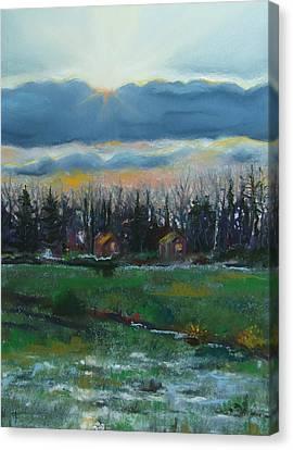 Cabanes Dans Les Bois Canvas Print by Marie-Claire Dole