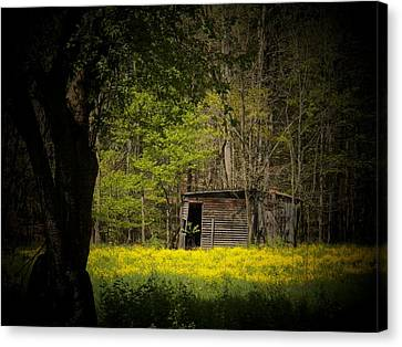 Cabin In The Flowers Canvas Print by Joyce Kimble Smith