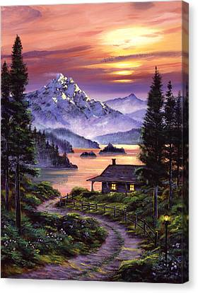 Cabin On The Lake Canvas Print by David Lloyd Glover