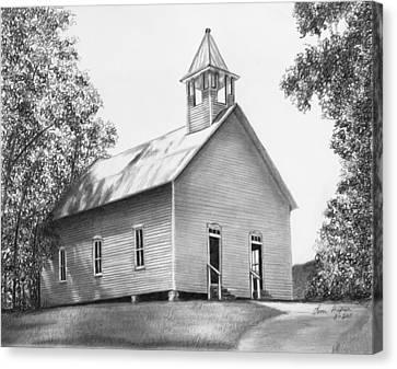 Cades Cove Methodist Church Canvas Print by Lena Auxier