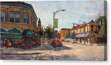 Caffe' Aroma In Elmwood Ave Canvas Print by Ylli Haruni