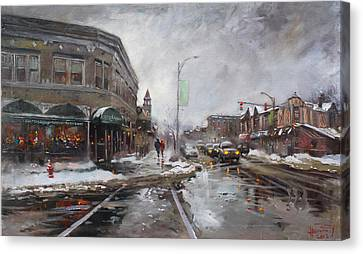 Caffe Aroma In Winter Canvas Print by Ylli Haruni