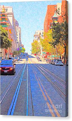 California Street In San Francisco Looking Up Towards Chinatown 2 Canvas Print by Wingsdomain Art and Photography