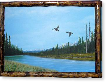 Canadian Geese On The Kootenay Canvas Print by William Flexhaugh