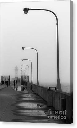Canal Park Lighthouse In Fog Canvas Print by Mark David Zahn