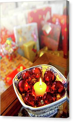 Candle And Balls Canvas Print by Carlos Caetano