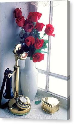 Candlestick Phone In Window Canvas Print by Garry Gay