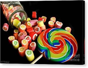 Candy Rocks  Candy Sucker Canvas Print by Tracy  Hall
