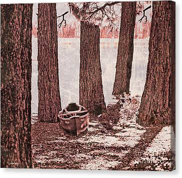 Canoe In The Woods Canvas Print by Cheryl Young